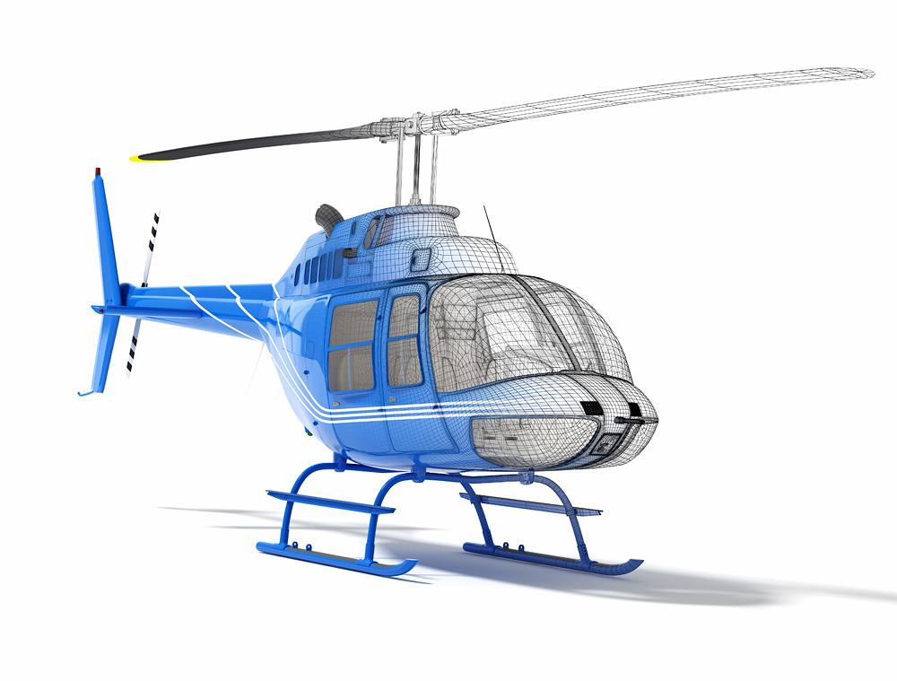 full scale helicopter 3D modeling engineering