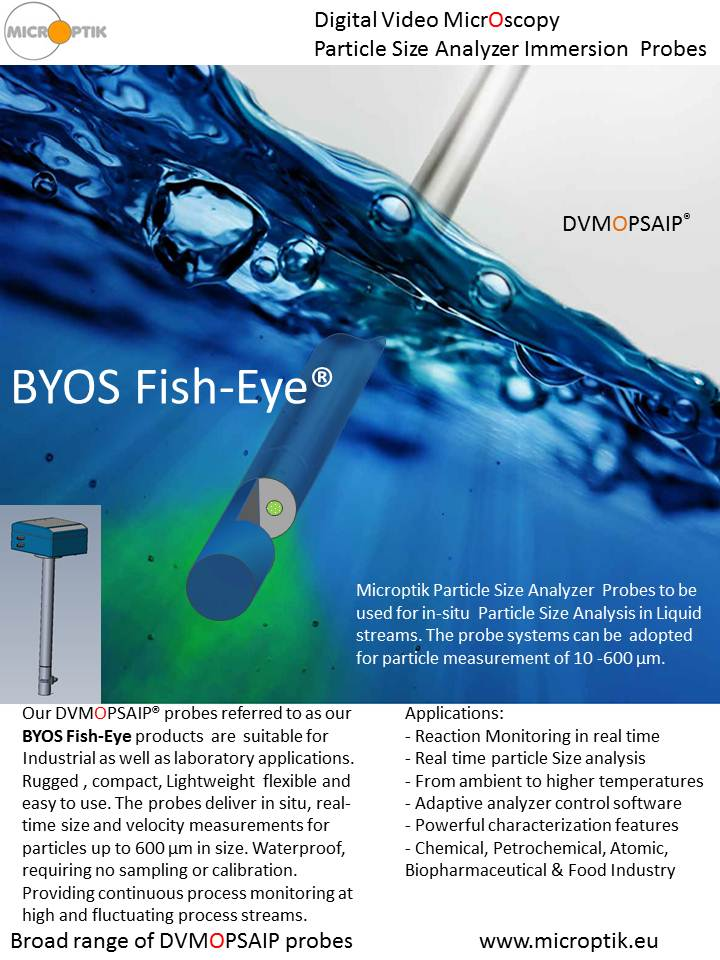 Fish Eye Video Microscopy Immersion probes for PSA